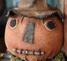 Primitive Folk Art Halloween Witch Pumpkin by rockriverstitches, $7.50