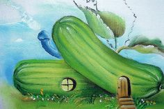 pintura em tecido casinhas de frutas - Pesquisa Google Arts And Crafts, Diy Crafts, Fabric Painting, Cactus Plants, Applique, Hand Painted, Fruit, Vegetables, Flowers