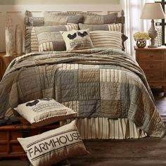 Sawyer Mill Charcoal Quilted Bedding Collection, simple block pattern in various plaid and stripes work perfectly to set a Farmhouse mood for the bedroom. This cozy quilt is ash grey, creme, and black. Primitive Country Farmhouse Bedding Home Decor. Farmhouse Quilts, Rustic Farmhouse, Farmhouse Style, Farmhouse Bedding Sets, Country Bedding, Country Bedrooms, Rustic Bedrooms, Farmhouse Ideas, Boudoir
