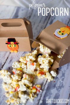 pilgrims popcorn- awesome way to use up candy corn and get little ones excited about thanksgiving!