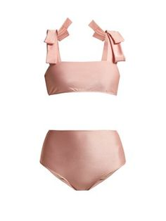 New Adriana Degreas Fiore Solis bow-embellished bikini. Swimsuits, Bikinis, Swimwear, Adriana Degreas, Linen Trousers, Swimsuit Cover Ups, Beachwear For Women, Beach Babe, Vegan Leather