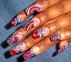 Red, white & blue for 4th of July nail art design
