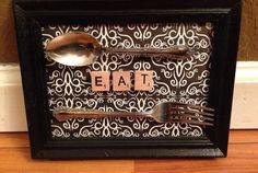 EAT Kitchen Scrabble letters picture frame, Scrabble tile art, Black and White Damask on Etsy, $12.00