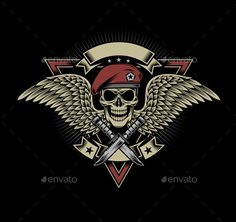 Buy Military Skull with Wings and Daggers by vectorfreak on GraphicRiver. fully editable vector illustration (editable EPS) of military skull with wings and daggers on black background, image. Black Background Images, Black Backgrounds, Paintball, Coleccionables Sideshow, Army Tattoos, Skull Pictures, Harley Davidson Logo, Skull Artwork, Skull Logo