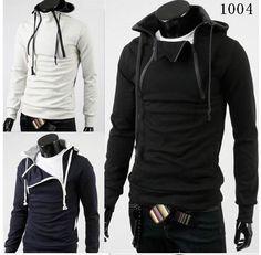 New Fashion Men's Zip Line Hoodie Hooded Sweater Coat Jacket