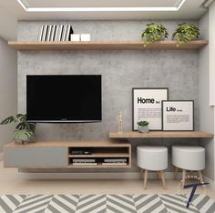 Excellent small living room designs are offered on our site. Take a look and you will not be sorry you did. Home Living Room, Apartment Living, Interior Design Living Room, Living Room Decor, Tv On Wall Ideas Living Room, Living Room Tv Unit Designs, Tv Unit For Bedroom, Bedroom Tv Wall, Diy Bedroom