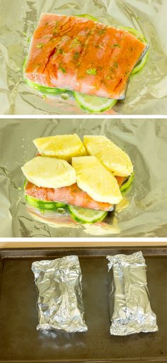 YUM: Pineapple Salmon Foil Packs - layers of lime, salmon, honey, lime zest, and pineapple sealed in aluminum foil packets and baked. Salmon Recipes, Fish Recipes, Seafood Recipes, Cooking Recipes, Healthy Recipes, Pineapple Recipes, I Love Food, Good Food, Yummy Food