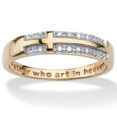 diamond accent yellow gold lords prayer cross ring at palmbeach - Christian Wedding Rings