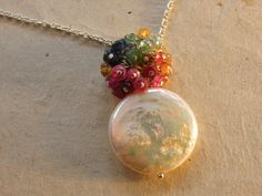 Coin Pearl with a  Ball of Gemstones by Elementsofmichele on Etsy, $63.00