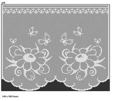 "Short curtains ""Flower and Butterfly"" Filet Crochet, Crochet Chart, Crochet Motif, Crochet Designs, Crochet Doilies, Crochet Patterns, Crochet Home, Love Crochet, Borboleta Crochet"