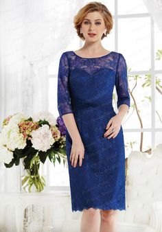 >> Click to Buy << Free Shipping Gorgeous Short Sheath Boat Neck Lace Mother Of The Bride Dresses Knee Length With Three Quarter Sleeves MD020 #Affiliate