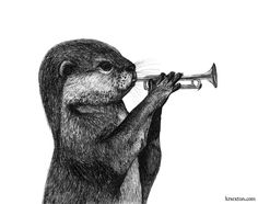 Otter with a Trumpet - Pen and Ink Illustration by K.R.Sexton