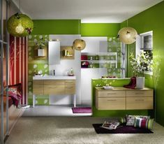 color verde vibrante en las paredes del baño moderno