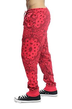 Victorious Mens Grid Bandana French Terry Jogger Pants JG820 - RED - X-Large F14C