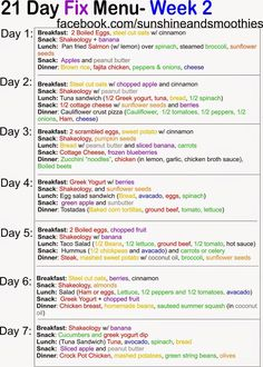 Sunshine and Smoothies Fitness: 21 Day Fix Menu - Week 2 Clean Eating Menu, Healthy Eating Schedule, Clean Diet Plan, Diet Plan Menu, Clean Eating Recipes, T25 Meal Plan, Meal Prep Menu, 21 Day Fix Meal Plan, 21 Day Fix Menu