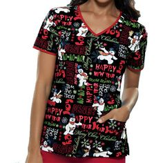 "This scrub top reminds me of the frosty cartoond during Christmas. ""Happy Birthday!""Tooniforms Women's Cut V-Neck Print Scrub Top 