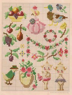 Sentimental Baby: Free Vintage Colored Cross Stitch Pattern
