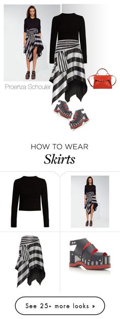 """asymmetrical"" by katymill on Polyvore featuring Proenza Schouler, skirt, proenzaschouler and asymetrical"
