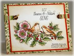 Joy to the world! Let your stamped creations sing with natural beauty using this set of two birds nestled in Holly branches and Hellebore blossoms. Special sentiments carry you from Christmas through