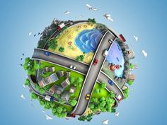 Picture of concept globe showing diversity, transport and green energy in a cartoony style stock photo, images and stock photography. Save Environment, Tourism Day, Energy Resources, Sculptural Fashion, Parcs, Go Green, Painting Techniques, Birds In Flight, Diversity
