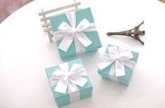 Tiffany Blue Wedding Favor Candy Box , DIY  Party Paper Favor Box , Candy Box with Ribbon Bow , Tiffany Blue on Etsy, $1.99
