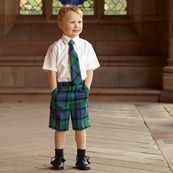 Flower of Scotland tartan shorts, matching tie and proper traditional kilt shoes....how cute! #tartan #tartanshorts #plaid #flowerofscotland #boystie