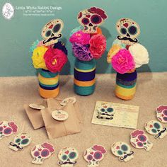 Day of the Dead themed party.....I want to put these on cupcakes!