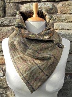 Tweed fabric Scarf/Snood/Neckwarmer with Liberty Tana Lawn