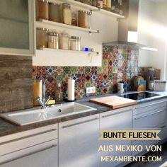 Bunte Fliesen für die Küche. Mexikanische Fliesen mit Muster handbemalt…