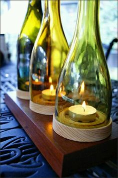 26 Wine Bottle Crafts To Surprise Your Guests Beautifully - Pin Zeit - 26 Wine . - 26 Wine Bottle Crafts To Surprise Your Guests Beautifully – Pin Zeit – 26 Wine Bottle Crafts T - Glass Bottle Crafts, Wine Bottle Art, Wine Bottle Candles, Wine Bottle Cutting, Wine Glass, Wine Bottles Decor, Crafts With Wine Bottles, Wine Bottle Decorations, Cutting Glass Bottles
