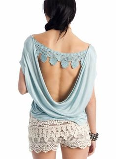 Inspiration for a homemade top with crochet at the back