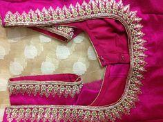 Vvj Kurta Designs, Saree Blouse Designs, Embroidery Neck Designs, Embroidery Blouses, Hand Embroidery, Machine Embroidery, Pink Saree Blouse, Mirror Work Blouse Design, Aari Work Blouse