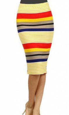 Womens midi length spring striped pencil skirt. - Apostolic Clothing -