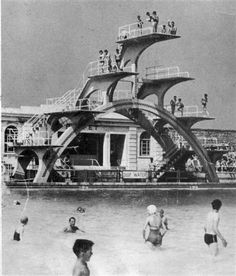 The diving board, Weston-super-Mare lido, 1937 Weston Super Mare, Above Ground Swimming Pools, In Ground Pools, Visit Devon, Diving Springboard, British Seaside, Diving Board, Cathedral City, Pool Accessories