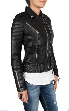 HOT Women's Genuine Lambskin Real Leather Motorcycle Slim fit Biker Jacket WN43 #WesternOutfit #Motorcycle #EveryDay