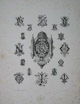 """Isidore monogrammes french 19th century engraving 12 x 17"""" $110"""