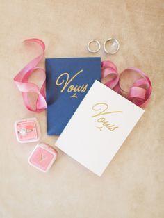 Sweet navy + white vow books: http://www.stylemepretty.com/virginia-weddings/rivanna-virginia/2016/01/19/elegant-autumn-virginia-vineyard-wedding/ | Photography: Rachel May - http://www.rachel-may.com/