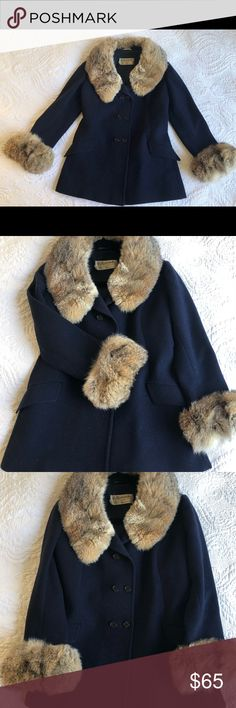 Vintage fur collar peacoat You'll be a showstopper every time you step outside in this unique retro glam jacket. Saks fifth avenue vintage navy blue peacoat. Hettemarks brand- made in Sweden. Real fur collar is incredibly soft and warm. Super high fashion vintage look. Jacket is in good condition, some tears along the seam of the interior lining in the sleeves (pictured). And a little wear on the left panel (pictured). Fits a small (around size 2-4). Vintage Jackets & Coats Pea Coats