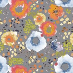 Kelly Ventura - Flora Lawn - Wildflowers Lawn in Soft Gray Cotton Lawn Fabric, Cotton Quilts, Windham Fabrics, Modern Fabric, Or Antique, Wild Flowers, Sewing Patterns, Textile Patterns, Textiles