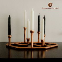 Custom Copper Candle holder steampunk industrial art deco copper fittings candle holder