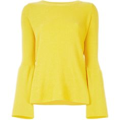 Stella McCartney ribbed flared jumper (10.314.750 IDR) ❤ liked on Polyvore featuring tops, sweaters, blouses, long sleeves, yellow summer tops, long bell sleeve tops, round neck sweater, ribbed long sleeve top and bell sleeve tops