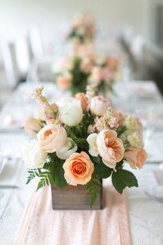 peach baby shower, rustic romantic, centerpiece flowers, wooden planter, garden roses, juliet roses