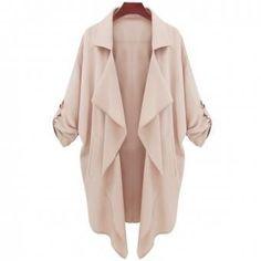 Beige Coat With Half Sleeves-Choies Basic Fashion, Look Fashion, Womens Fashion, Street Fashion, Korean Fashion, Fashion Coat, American Fashion, Fashion 2015, Latest Fashion