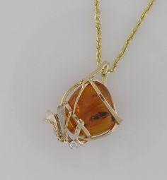 Amber Diamond Pendant, jewelry