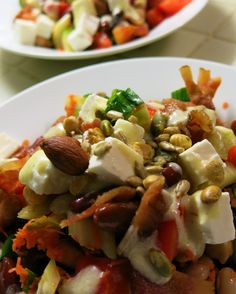 Nothing like bean salad on a hot, humid day! Sprinkled some trail mix and bacon and feta on top.