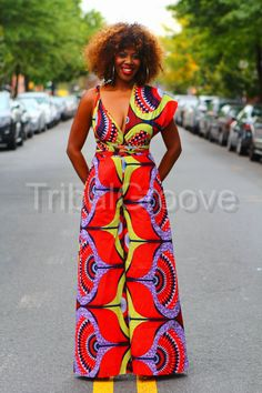 KENYA - African Ankara Wax Print Wide Leg Pants Infinity Jumpsuit Celebrate the holidays in style and culture with the amazing infinity jumpsuit by. African Fashion Designers, African Print Fashion, Africa Fashion, African Fashion Dresses, Fashion Outfits, Cheap Fashion, Mens Fashion, African Wear, African Attire