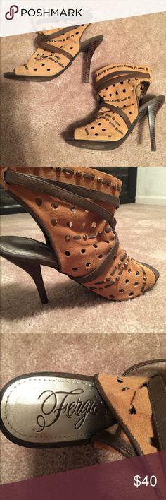 Fergie leather bootie heels Great condition. Worn twice. Fergie Shoes Heels