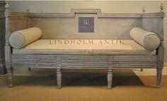 Lindholm Antiques Great Swedish Gustavian ca 1790 Sofa with restored paint finish, upholstered in a neutral natural linen.