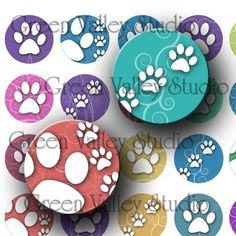 INSTANT DOWNLOAD Digital Images Collage Sheet Dogs by greenvalley (Craft Supplies & Tools, Scrapbooking Supplies, Scrapbooking Clip Art, digital sheet, printable, download, dog, cat, paw, scrapbook, bottle cap, bottlecaps, inchies, jewelry, round)