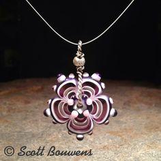 Purple and White Lampwork Flower Bead Pendant by BearfootArtGlass, $38.00